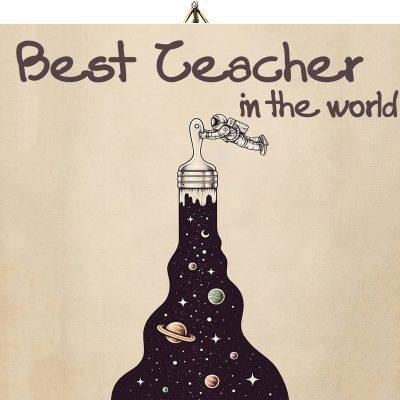 Ξύλινο καδράκι Best teacher Διάστημα