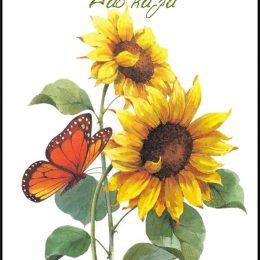 Ευχετήρια Κάρτα Ηλιοτρόπια για τη Δασκάλα