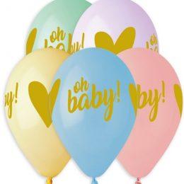 12″ Μπαλόνι Oh Baby σε παστέλ αποχρώσεις