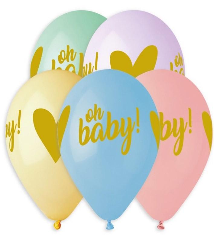 """12"""" Μπαλόνι Oh Baby σε παστέλ αποχρώσεις"""