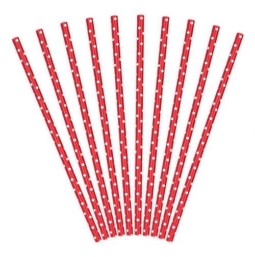Καλαμάκια χάρτινα κόκκινο πουά (10 τεμ)