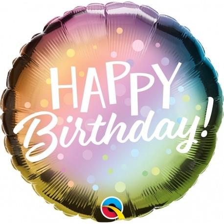 Μπαλόνι Happy Birthday μεταλλικό ombre 45 εκ