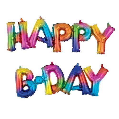 """Μπαλόνι """"Happy B-day"""" ουράνιο τόξο (2 τεμ)"""