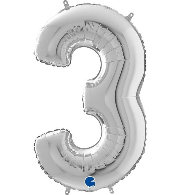 Μπαλόνι 66 εκ Ασημί Αριθμός 3