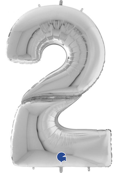 Μπαλόνι Γίγας 163 εκ Ασημί Αριθμός 2