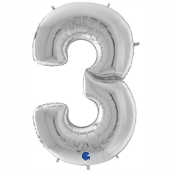 μπαλόνι γίγας 163 εκ ασημί αριθμός 3