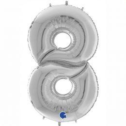 Μπαλόνι Γίγας 163 εκ Ασημί Αριθμός 8