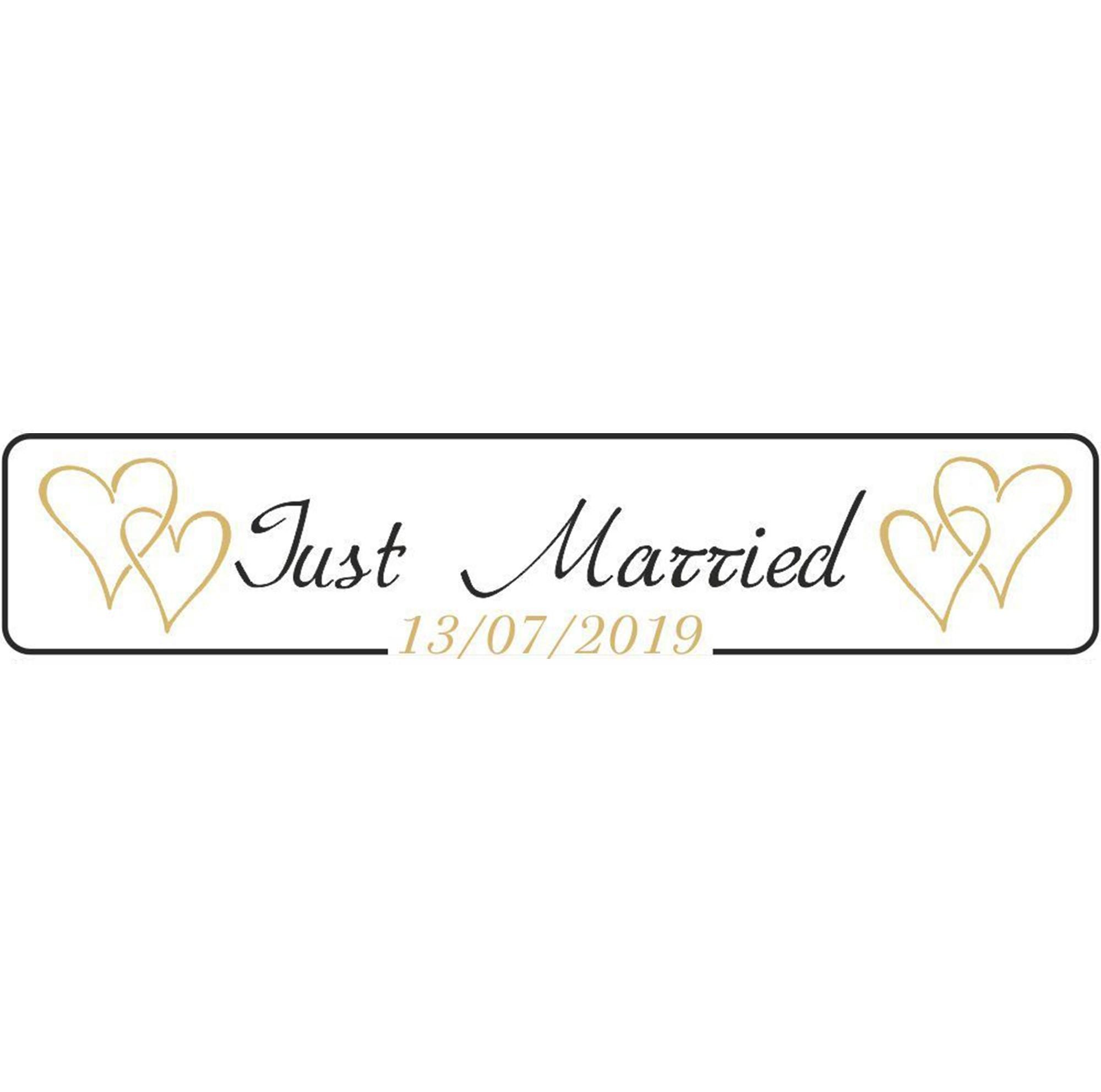 Πινακίδα αυτοκινήτου γάμου Just Married gold hearts