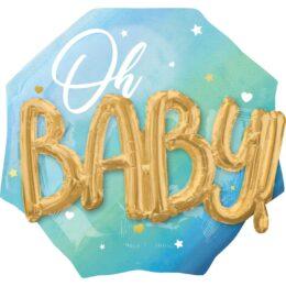 Μπαλόνι γέννησης Oh Baby 3D ombre μπλε 76 εκ