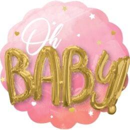 Μπαλόνι γέννησης Oh Baby 3D ombre ροζ 71 εκ