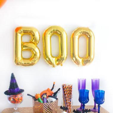 """Μπαλόνι Halloween Χρυσό """"BOO"""" (3 τεμ)"""