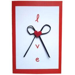 Κάρτα Αγάπης Love καρδούλα και Φιογκάκι