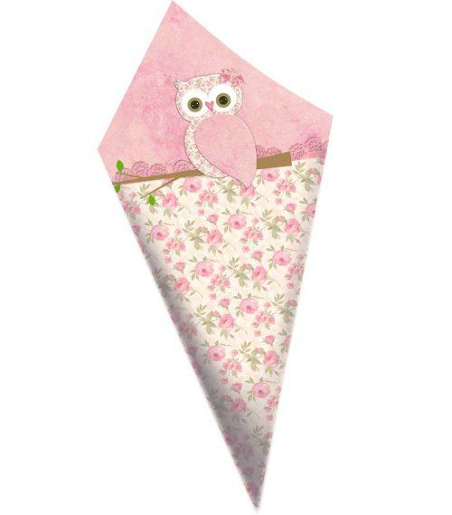 Χωνάκια ζαχαρωτών ροζ Κουκουβάγια.