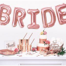 Μπαλόνι ροζ χρυσό Bride 100εκ./γράμμα (5 τεμ)