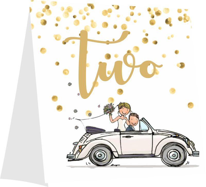 Αρίθμηση τραπεζιού καρτάκι γαμήλιο αμάξι