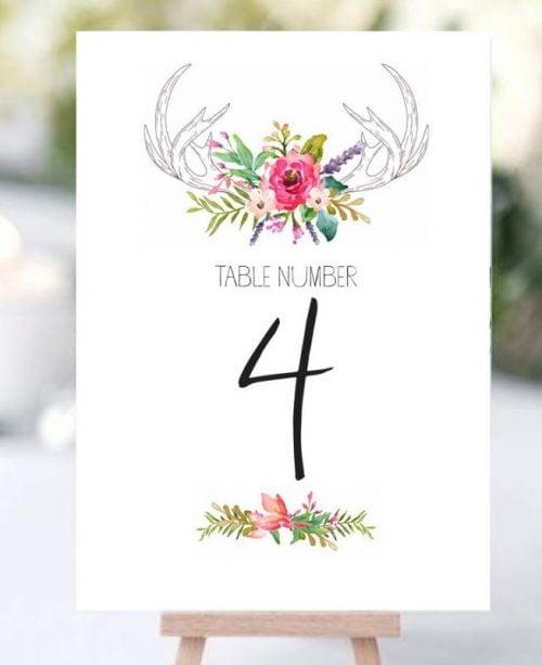 Αρίθμηση τραπεζιού κάρτα flowers