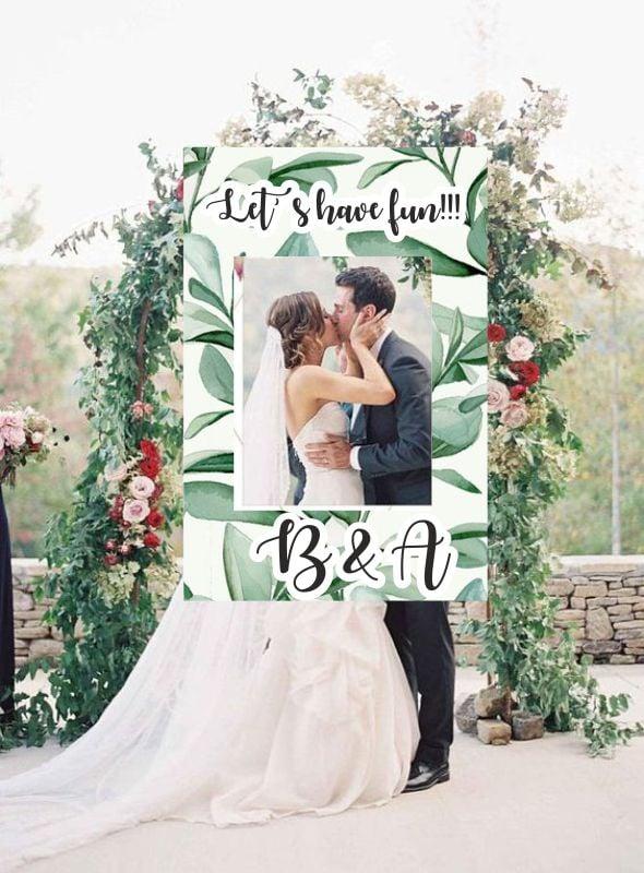 Κάδρο Photo Booth Γάμου φύλλα
