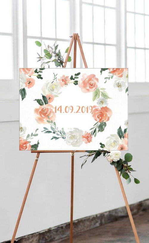 Καμβάς Γάμου λουλούδια & ημερομηνία