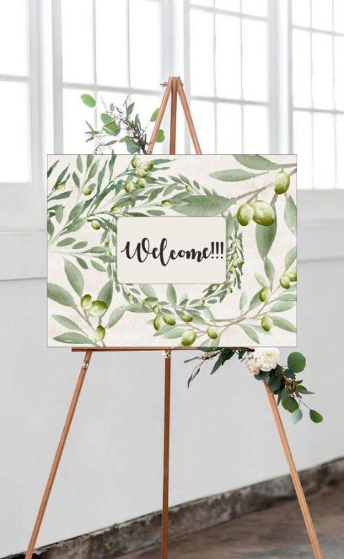 Καμβάς Γάμου ελιά & Welcome
