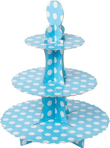 Βάση για Cupcake γαλάζια με λευκό πουά