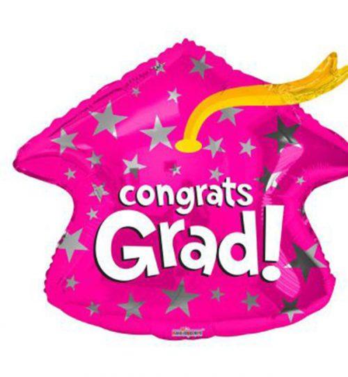 Μπαλόνι αποφοίτησης Congrats Grad ροζ καπέλο 46 εκ