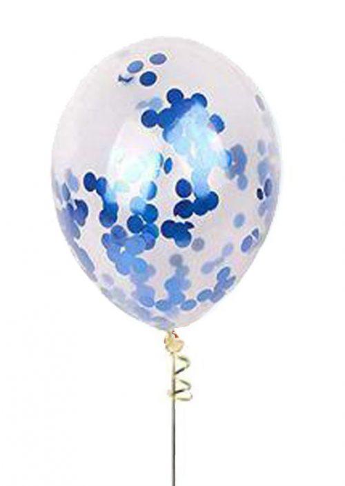 """13"""" Διάφανο μπαλόνι με σκούρο μπλε κονφετί"""