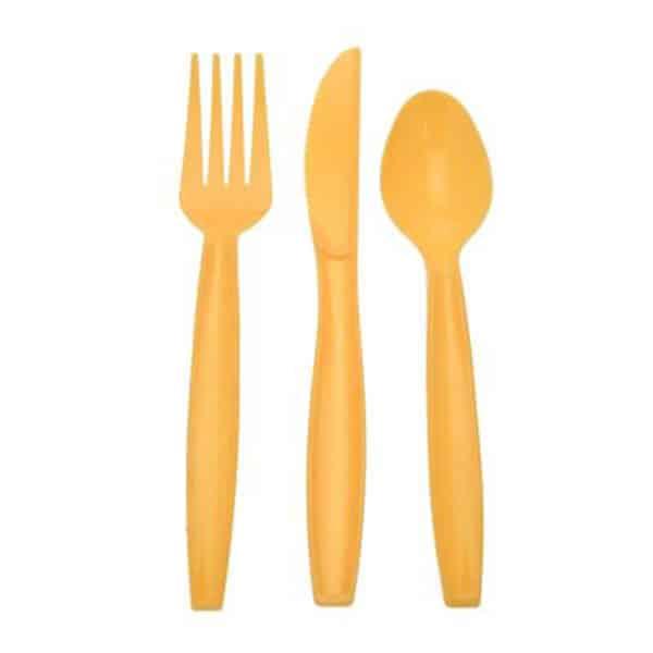Σετ κίτρινα μαχαιροπίρουνα (18 τεμ)