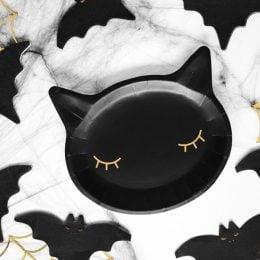 Πιάτα πάρτυ μαύρα Γατούλα (6 τεμ)