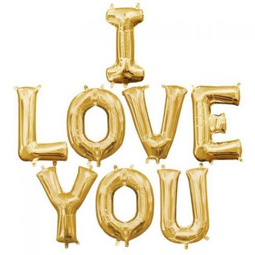 Μπαλόνι αγάπης I Love You Χρυσό (8 τεμ)