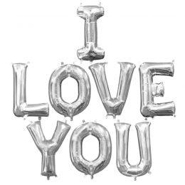 Μπαλόνι αγάπης I Love You Ασημί (8 τεμ)