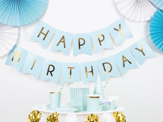 """Διακοσμητικό μπάνερ γαλάζιο """"Happy birthday"""""""