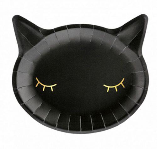 Πιάτα πάρτυ Μαύρο κεφάλι γάτας (6 τεμ)