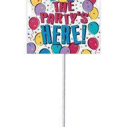 """Πινακίδα """"The Party is here"""" με μπαλόνια"""
