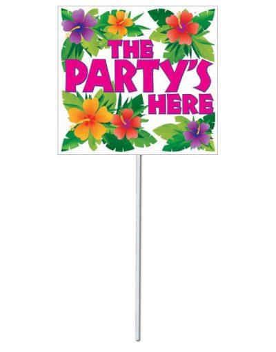 """Πινακίδα """"The Party is here"""" με λουλούδια"""