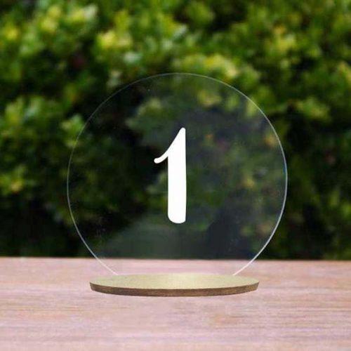 Αρίθμηση τραπεζιού στρογγυλό Plexiglass με βάση
