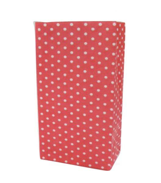 Κόκκινες με μικρό πουά χάρτινες σακούλες για δωράκια