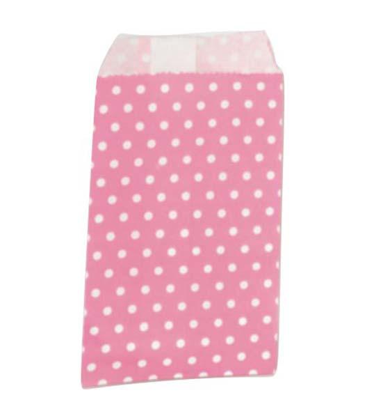 Ροζ πουά χάρτινες σακούλες για δωράκια