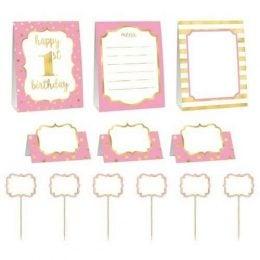 Σετ διακόσμησης μπουφέ 1st Birthday ροζ (12 τεμ)
