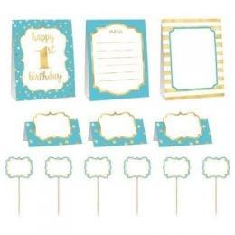 Σετ διακόσμησης μπουφέ 1st Birthday γαλάζιο (12 τεμ)