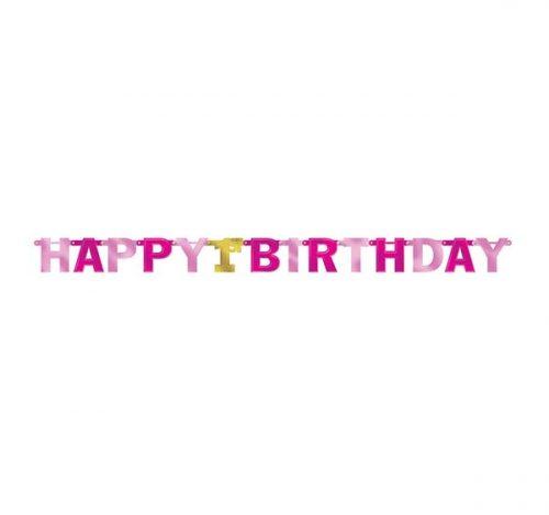 Μπάννερ με γράμματα 1st Birthday ροζ