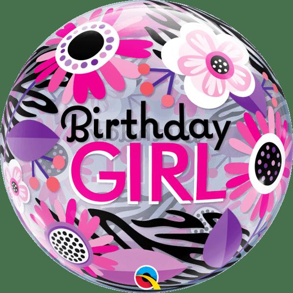 """Μπαλόνι """"Birthday girl"""" λουλούδια bubble 56 εκ"""