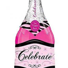 """Μπαλόνι ροζ μπουκάλι κρασιού """"celebrate"""" 99 εκ"""