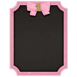 Μαυροπίνακας με κιμωλία 1st Birthday ροζ