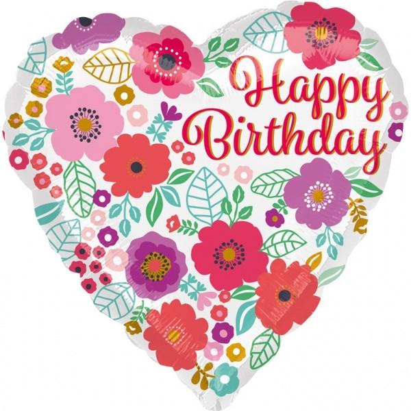 Μπαλόνι Καρδιά Happy Birthday φλοράλ μοτίβο 43 εκ