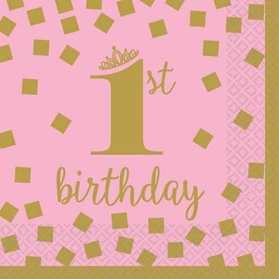 """Χαρτοπετσέτες """"1st Birthday"""" ροζ & χρυσό (16τεμ)"""