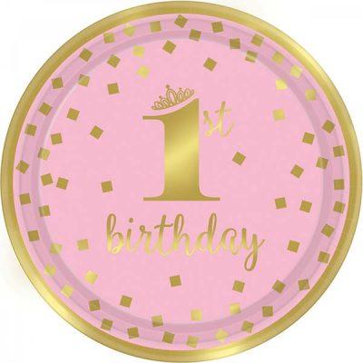 """Πιάτα πάρτυ """"1st Birthday"""" ροζ & χρυσό (8 τεμ)"""