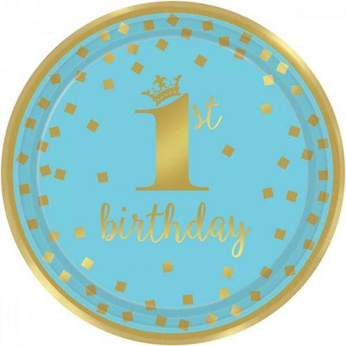 """Πιάτα πάρτυ """"1st Birthday"""" μπλε & χρυσό (8 τεμ)"""