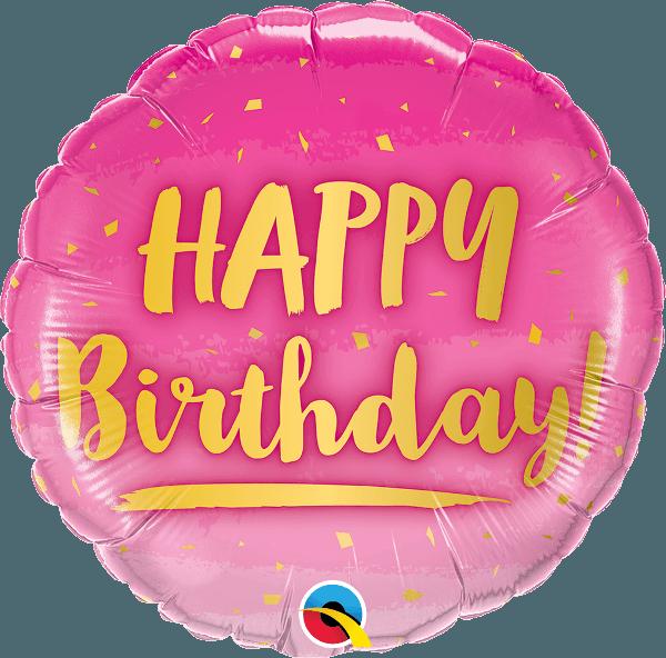 Μπαλόνι Happy Birthday χρυσό & ροζ 45 εκ