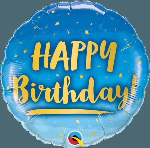 Μπαλόνι Happy Birthday χρυσό & μπλε 45 εκ