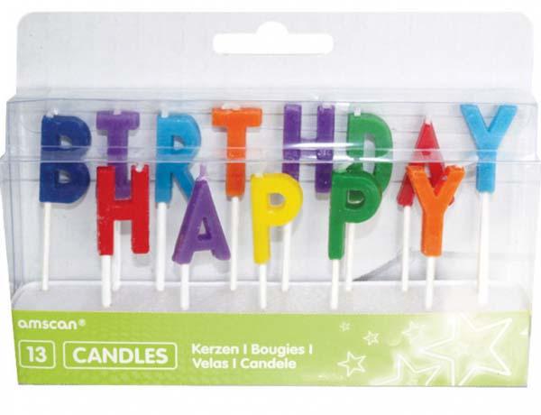 """Κεράκια γράμματα """"Happy Birthday"""" πολύχρωμα (13 τεμ)"""